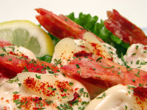 Shrimp with mayonnaise Royalty Free Stock Images