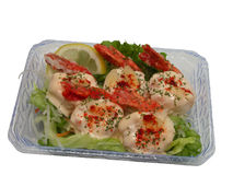 Shrimp with mayonnaise-clipping path Royalty Free Stock Photography