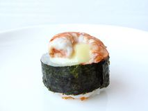 Shrimp with mayonnaise seaweed sushi roll. Royalty Free Stock Images