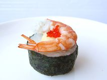 Shrimp with mayonnaise seaweed sushi roll. Royalty Free Stock Image
