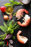Shrimp Meat with Ingredients on Black Table Royalty Free Stock Photos
