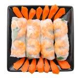 Shrimp , meat rolls Stock Photos