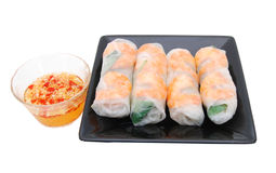 Shrimp , meat rolls on the dish Royalty Free Stock Image
