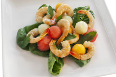 Shrimp and Melon Salad Royalty Free Stock Photography