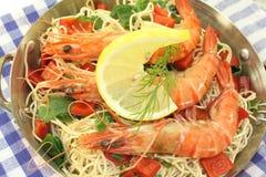 Shrimp with Mie noodles Stock Photo
