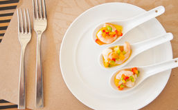 Shrimp in mix bell peppers on oil base sauce Stock Image