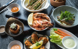 Mix of Seafood Set Menu fresh Stock Images