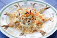 Shrimp mix thaistyle in lemon spice thaifood Royalty Free Stock Photos