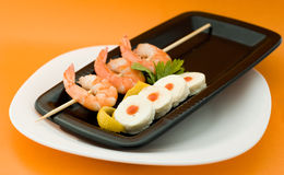 Shrimp with mozzarella cheese Royalty Free Stock Photos