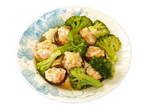 Shrimp & mushroom & broccoli steam Royalty Free Stock Photography