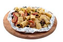 Shrimp and Mushroom Pasta  served in  cartoccio Stock Photos