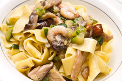 Shrimp and Mushroom Pasta Stock Images