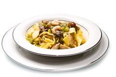 Shrimp and Mushroom Pasta Stock Image