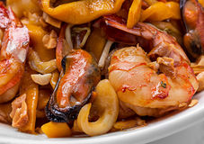 Shrimp mussel and egg noodle Royalty Free Stock Photo