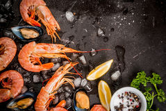 Shrimp and mussels on ice Stock Photo