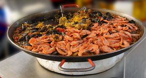 Shrimp, mussels and paella Royalty Free Stock Images