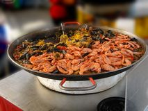 Shrimp, mussels and paella Stock Photography