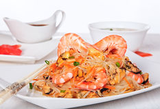 Shrimp and mussels salad with cellophane noodles. Royalty Free Stock Image