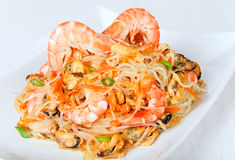 Shrimp and mussels salad with cellophane noodles Royalty Free Stock Photos