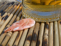 Shrimp near a glass with beer Royalty Free Stock Images