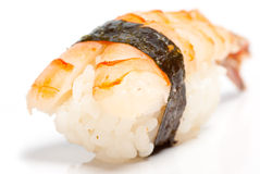 Shrimp nigiri sushi. (ebi) on the white background Stock Images