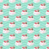 Shrimp nigiri sushi seamless vector pattern on japanese wave background. Shrimp nigiri sushi seamless vector pattern on japanese wave blue background vector illustration