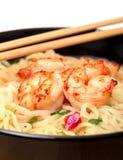 Shrimp and noodle soup bowl with chopsticks Stock Photos