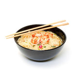 Shrimp and noodle soup bowl with chopsticks Royalty Free Stock Photo