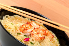 Shrimp and noodle soup bowl with chopsticks Stock Photography
