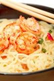 Shrimp and noodle soup bowl with chopsticks Stock Photo