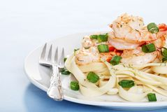 Shrimp With Noodles And Fork Stock Photography