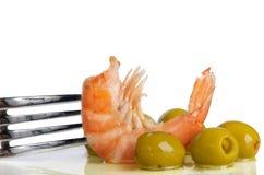 Shrimp and olives Royalty Free Stock Photo