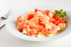Shrimp with orzo and feta Stock Photography