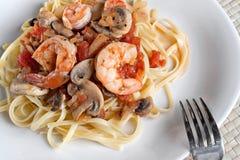 Shrimp Over Linguine Stock Images