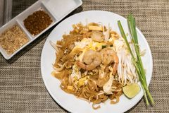 Shrimp Pad thai Royalty Free Stock Images