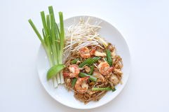 Shrimp Pad Thai. Thin rice noodles stir-fried with chicken, bean sprout, egg, green onion and ground peanut royalty free stock photography