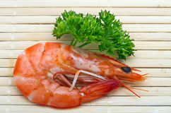 Shrimp with parsley Royalty Free Stock Photos