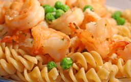 Shrimp and Pasta Royalty Free Stock Photos