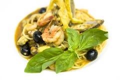 Shrimp pasta. Delicious shrimp pasta on white background Royalty Free Stock Photo