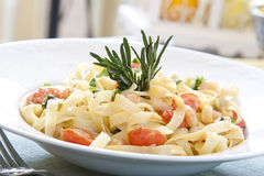 Shrimp Pasta. Seafood pasta with fresh rosemary Stock Images