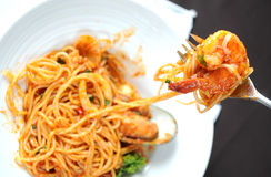 Shrimp with Pasta Royalty Free Stock Photography