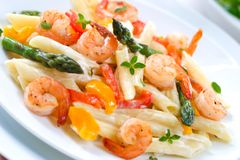 Shrimp Pasta Stock Photo