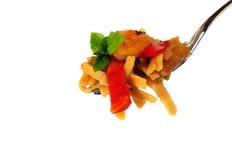 Shrimp Pasta and Basil Royalty Free Stock Photos