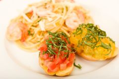 Shrimp Pasta and Bruchetta Royalty Free Stock Image