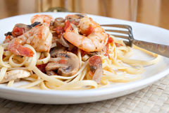 Shrimp Pasta Dish Royalty Free Stock Photography