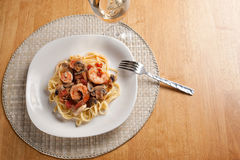 Shrimp with Pasta Dish Stock Image