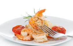 Shrimp with Pasta Royalty Free Stock Image