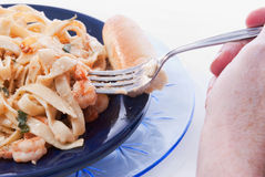 Shrimp and Pasta Stock Image