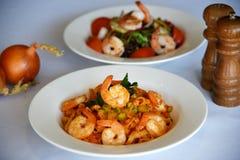 Shrimp pasta & shrimp salad Stock Photos