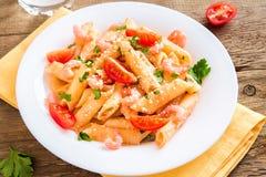 Shrimp pasta with tomato sauce Royalty Free Stock Photos